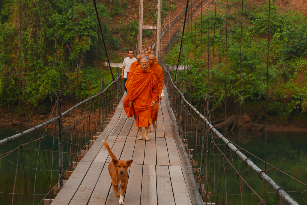 Monks crossing the suspension bridge, Thong Pha Phum, Thailand (photo by Irina Stelea)