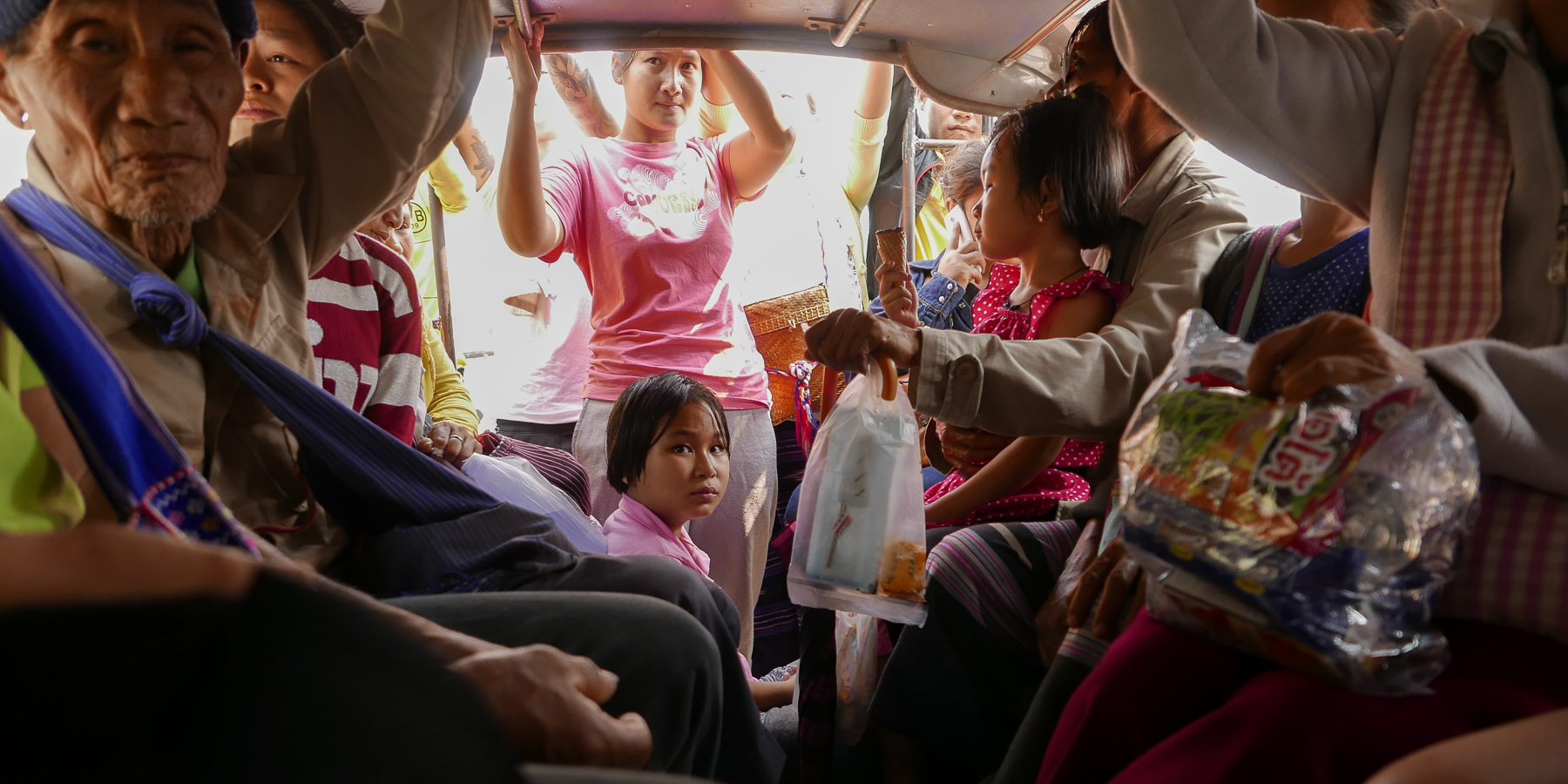 Passengers of a songthaew to Umphang, Death Highway, Northern Thailand (photo by Irina Stelea)